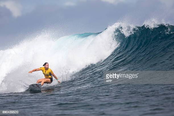 Australian surfer Tyler Wright competes in the Outerknown Fiji Women's Pro surfing competition in Tavarua Fiji on May 31 2017 / AFP PHOTO / Tom...