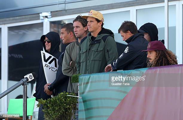 Australian surfers Julian Wilson and Matt Wilkinson during round 1 of the Moche Rip Curl Pro Portugal at Supertubos on October 23 2015 in Peniche...