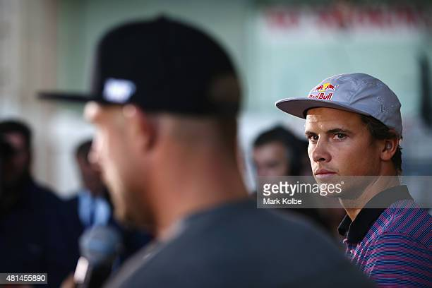 Australian surfers Mick Fanning and Julian Wilson speak to the media during a press conference at All Sorts Sports Factory on July 21 2015 in Sydney...