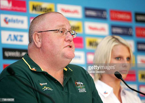 Australian Swim Team Head Coach Alan Thompson talks to the media during the Australian Swim Team press conference at the Melbourne Town Hall March 21...