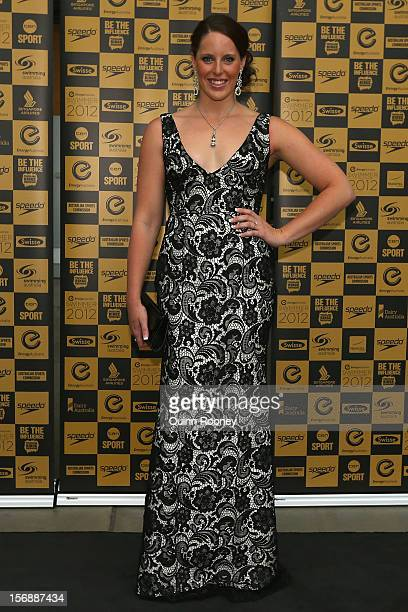 Australian swimmer Alicia Coutts arrives at the 2012 Swimmer of the Year Awards at the Melbourne Museum on November 24 2012 in Melbourne Australia