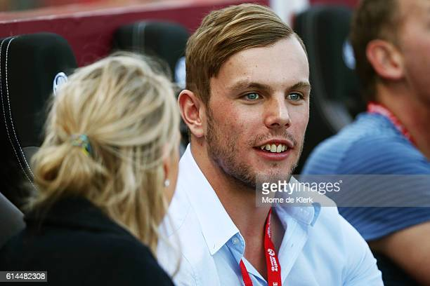 Australian swimmer and Olympic gold medalist Kyle Chalmers looks on during the round two ALeague match between Adelaide United and the Western Sydney...