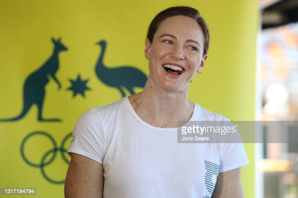 Australian swimmer Cate Campbell speaks to the media after having her vaccination against Covid-19 during a media opportunity at the Queensland...