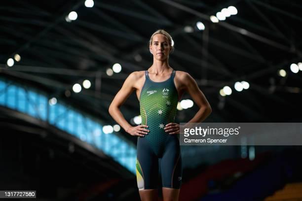 Australian swimmer Emma McKeon poses during an Australian 2020 Tokyo Olympic Games swim team portrait session at Sydney Olympic Park Aquatic Centre...