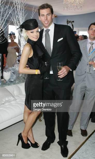 Australian swimmer Grant Hackett and his wife Candice pose in the Emirates Marquee during Emirates Melbourne Cup Carnival 2008 at Flemington Race...