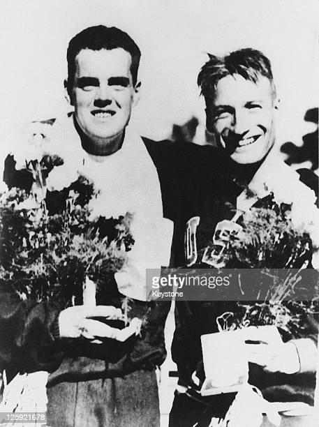 Australian swimmer John Davies after he won the final of the 200 metres breaststroke event with silver medallist Bowen Stassforth of the USA at the...