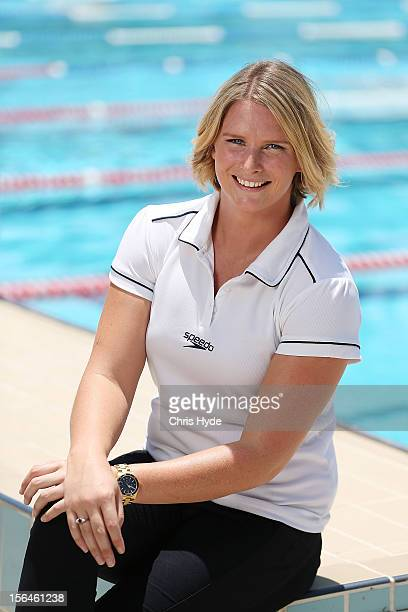Australian swimmer Leisel Jones poses for a photograph during a press conference to announce her retirement from swimming at Valley Pool on November...