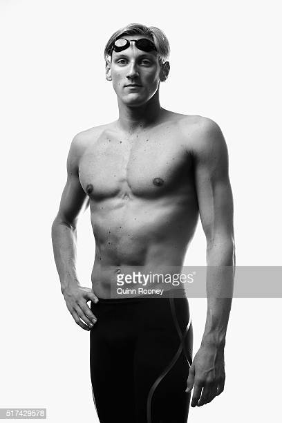 Australian Swimmer Mack Horton poses during a portrait session at Melbourne Sports and Aquatic Centre on March 25 2016 in Melbourne Australia