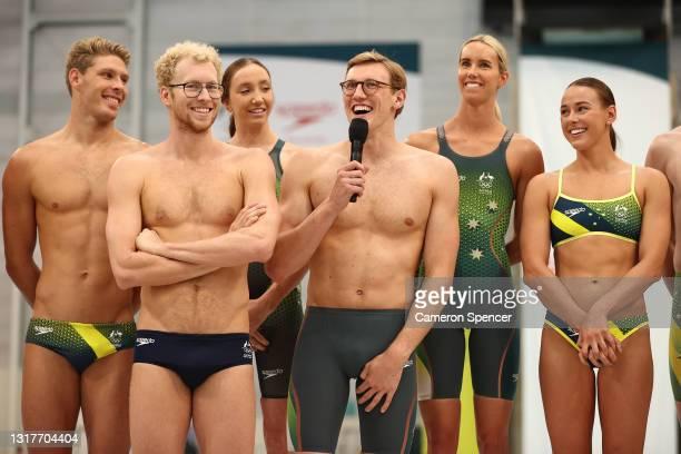 Australian swimmer Mack Horton speaks during the Australian 2020 Tokyo Olympic Games Swimming Uniform Launch at Sydney Olympic Park Aquatic Centre on...