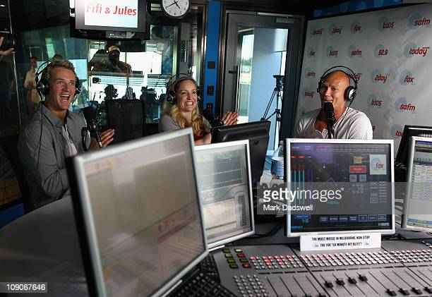 Australian swimmer Michael Klim speaks to the media and announces his comeback to swimming during the Fifi Jules Show at Fox FM on February 14 2011...
