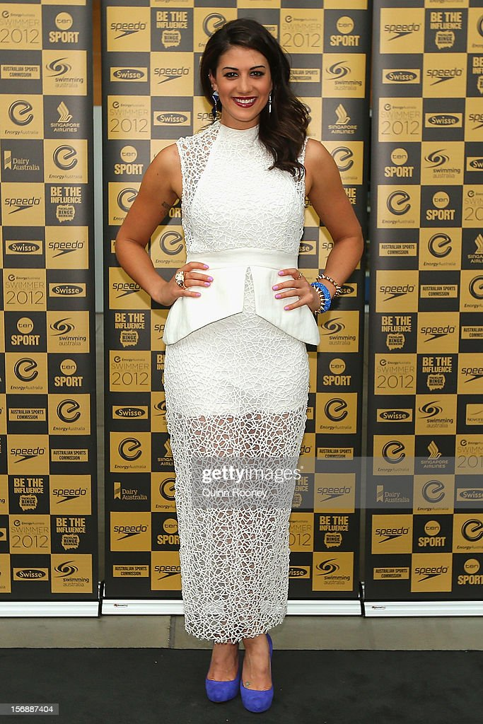 Australian swimmer Stephanie Rice arrives at the 2012 Swimmer of the Year Awards at the Melbourne Museum on November 24, 2012 in Melbourne, Australia.