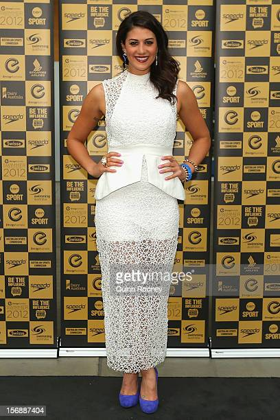 Australian swimmer Stephanie Rice arrives at the 2012 Swimmer of the Year Awards at the Melbourne Museum on November 24 2012 in Melbourne Australia