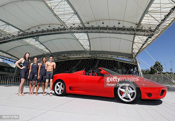 Australian swimmers Cate Campbell Jess Hansen Kotuku Ngawati and Ahmed Kelly pose during a Swimming Australia partnership announcement at the...