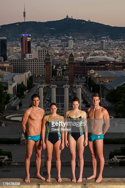 Australian swimmers Christian Sprenger Alicia Coutts Cate Campbell and James Magnussen pose during a portrait session following the 15th FINA World...
