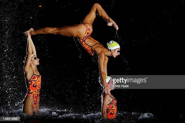Australian Synchronized Swimming Team pose during a portrait session at Gold Coast Aquatic Centre on July 13 2012 on the Gold Coast Australia