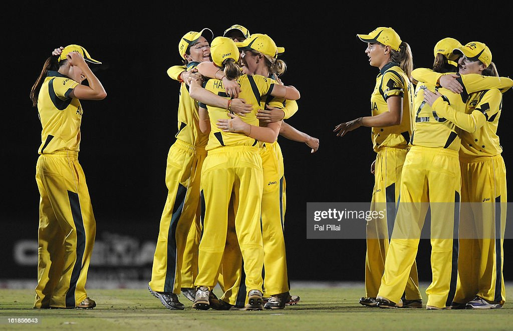 Australian team celebrate after winning the Womens World cup, between Australia and West Indies held at the CCI (Cricket Club of India) stadium on February 17, 2013 in Mumbai, India.