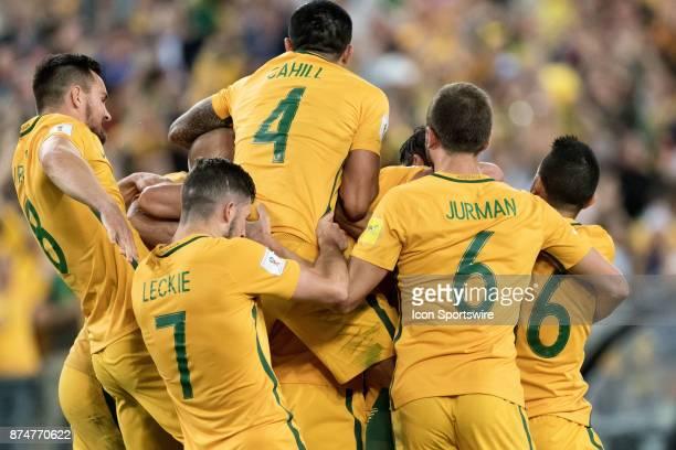 Australian team celebrate the goal of Mile Jedinak at the Soccer World Cup Qualifier between Australia and Honduras on November 15 2017 at Stadium...