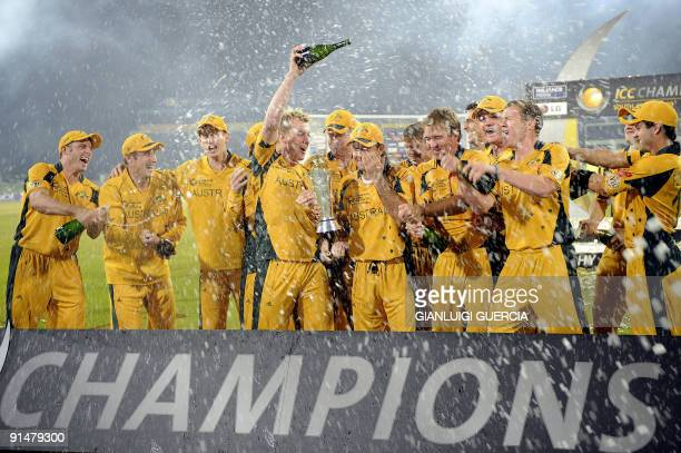 Australian team celebrates after winning the ICC Champions trophy on October 5 2009 at the end of the ICC Champions Trophy final match between New...