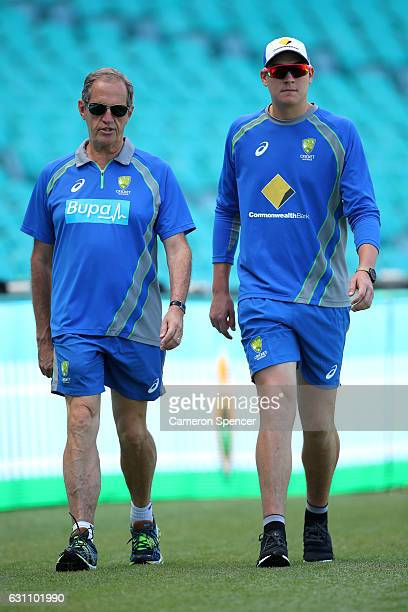 Australian team doctor Dr Peter Brukner walks laps of the field with Matt Renshaw of Australia during day five of the Third Test match between...