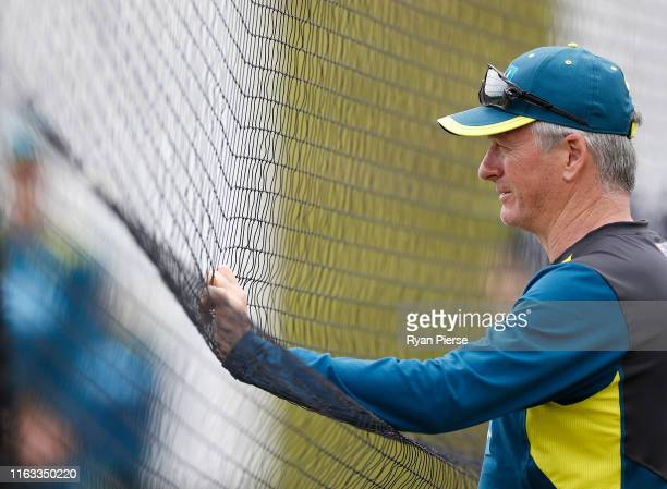 Australian Team Mentor Steve Waugh looks on during a training session at The Ageas Bowl in Southampton on July 21 ahead of the first Ashes cricket...
