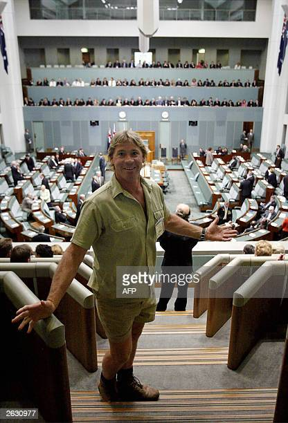 Australian television personality Steve Irwin wearing his trademark shorts arrives to hear the speech by U.S. President George W Bush to the...