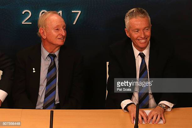Australian tennis great Rod Laver and Chief Executive Officer, Tennis Australia Craig Tiley attend a press conference to annouce the Laver Cup during...