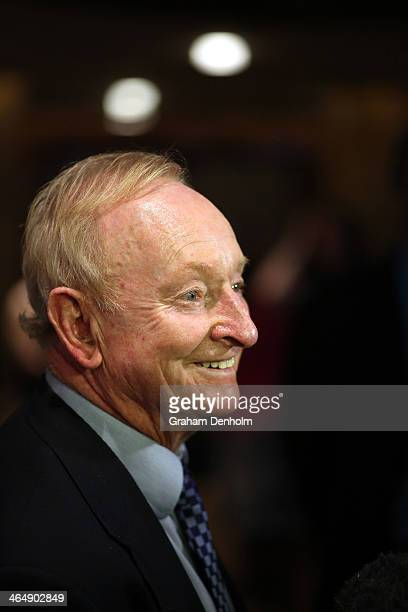 Australian tennis legend Rod Laver arrives at the Legends Lunch during day 13 of the 2014 Australian Open at Melbourne Park on January 25 2014 in...