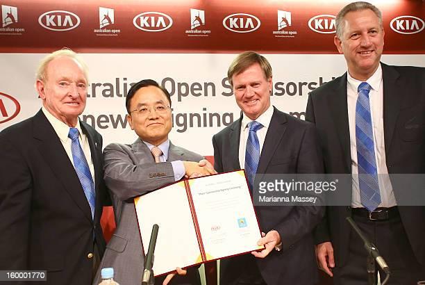 Australian tennis legend Rod Laver joins Kia Motors Corporation Senior Executive Vice President and COO Thomas Oh and Tennis Australia President...