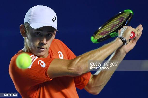 Australian tennis player Alex de Minaur returns the ball to German tennis player Alexander Zverev during their Mexico ATP 500 Open men's single...