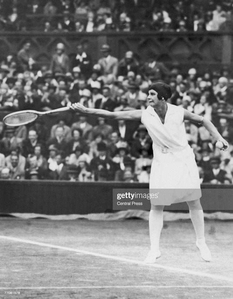 Australian tennis player Daphne Akhurst Cozens (1903 - 1933) in play at Wimbledon, 1928.