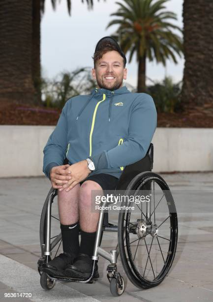 Australian tennis player Dylan Alcott poses during the Tennis Australia World Cup Team Shoot on May 2 2018 in Melbourne Australia