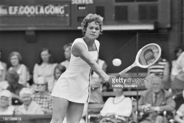 Australian tennis player Evonne Goolagong in play at the Wimbledon Championships in London, UK, July 1973.