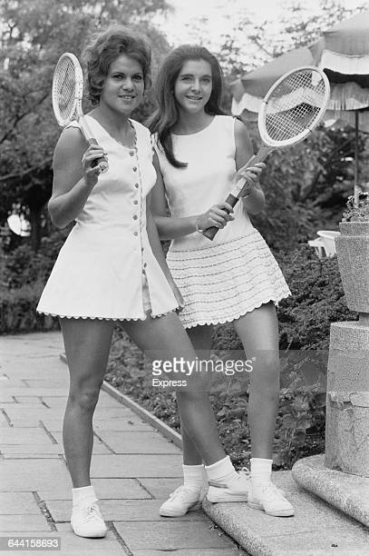 Australian tennis player Evonne Goologong and English player Veronica Burton modelling Teddy Tinling tennis fashions UK 18th June 1971