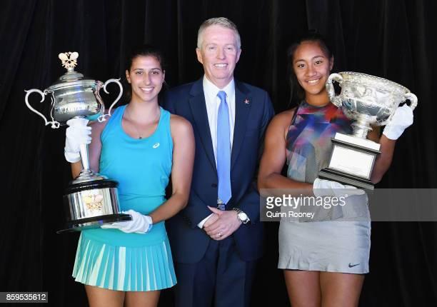 Australian tennis player Jaimee Fourlis Craig Tiley the Australian Open Tournament Director and Australian Tennis player Destanee Aiava pose with the...