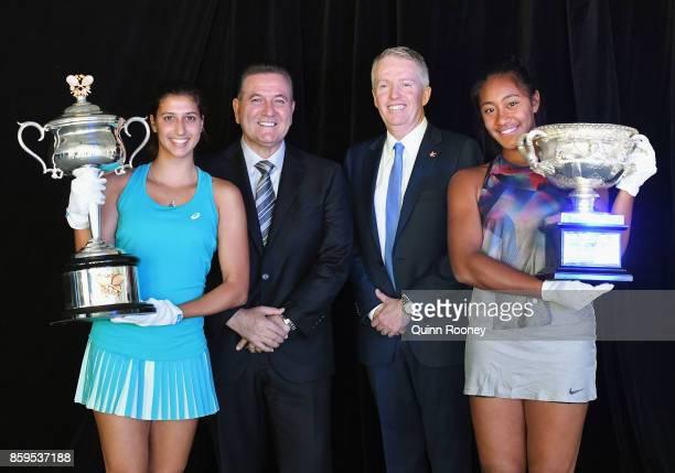 Australian tennis player Jaimee Fourlis The Minister for Sport and Major Events John Eren Craig Tiley the Australian Open Tournament Director and...