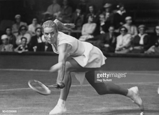 Australian tennis player Jenny Staley Hoad in play against Dorothy Knode on the second day of the Wimbledon Championships London 25th June 1957