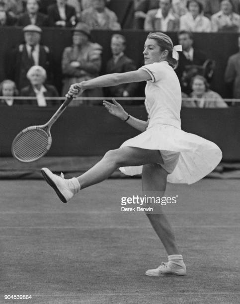 Australian tennis player Jenny Staley Hoad in play against Sheila Waddington on the fifth day of the Wimbledon Championships London 29th June 1956