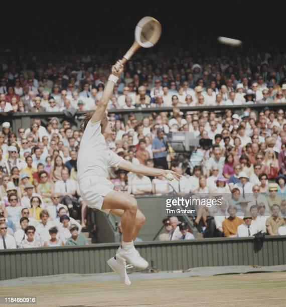 Australian tennis player John Newcombe in action in the Men's Final of the Wimbledon championships London UK 5th July 1969 He was beaten by Rod Laver