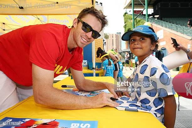 Australian tennis player John Peers signs autographs at Memorial Drive Tennis court during the 2017 World Tennis Challenge Kids Day on January 8 2017...