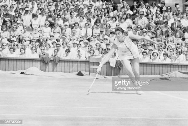 Australian tennis player Judy TegartDalton in action at Wimbledon championships at the All England Lawn Tennis and Croquet Club London UK July 1968