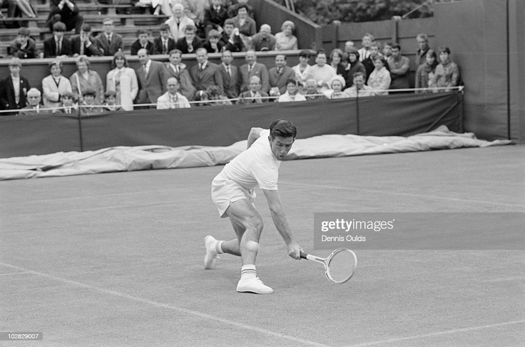 Australian tennis player Ken Rosewall competing against Abe Segal of South Africa in the first round of the Men's Singles at Wimbledon, 24th June 1968. Rosewall won the match 6-3, 6-4, 6-4.