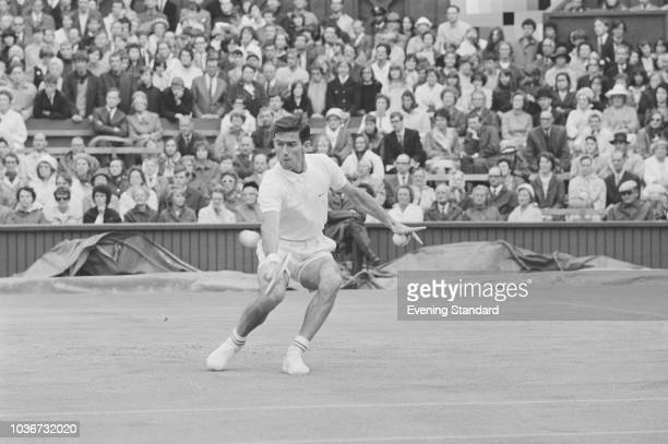 Australian tennis player Ken Rosewall in action at Wimbledon championships at the All England Lawn Tennis and Croquet Club London UK July 1968
