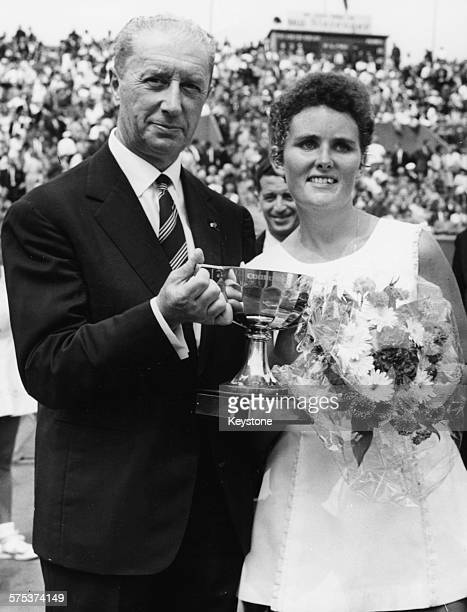 Australian tennis player Lesley Turner Bowrey being presented with her winners trophy at the final of the French Open Tennis Tournament Paris 1963