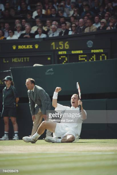 Australian tennis player Lleyton Hewitt celebrates on the court after beating David Nalbandian of Argentina 61 63 62 in the final of the Men's...