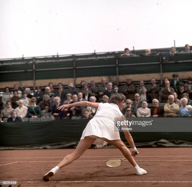 Australian tennis player Margaret Court in action during a championship match at Bournemouth