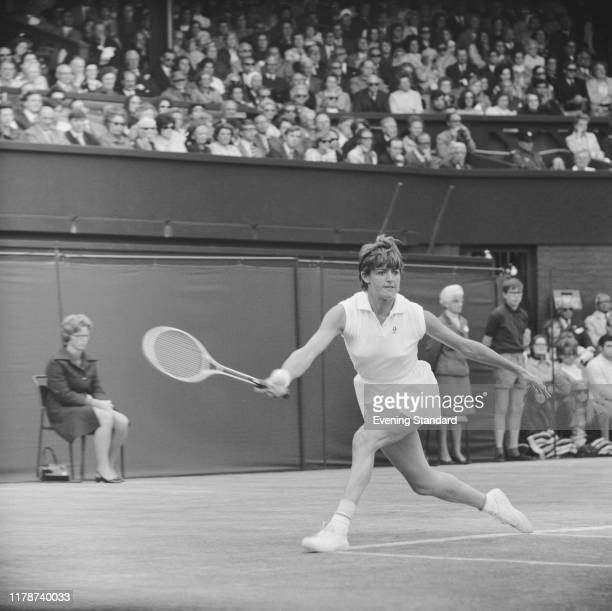 Australian tennis player Margaret Court in action during competition to win the final of the Women's singles tournament to become champion at the...