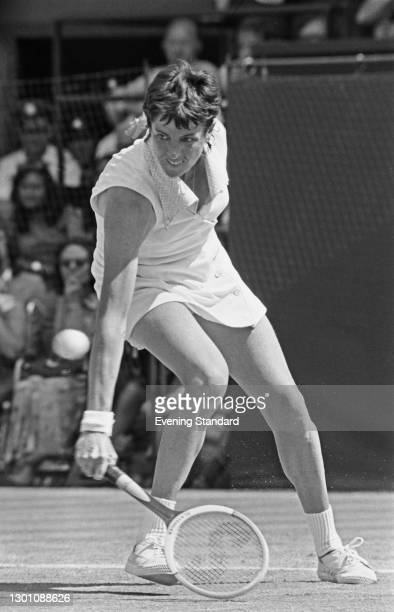 Australian tennis player Margaret Court in play at the Wimbledon Championships in London, UK, July 1973.