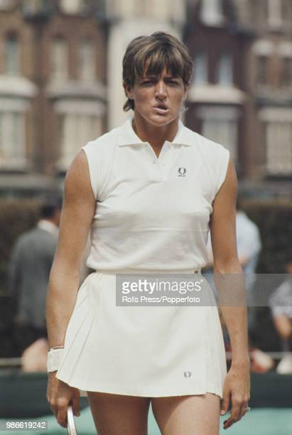 Australian tennis player Margaret Court pictured during play against Winnie Shaw in the final of the Women's singles tournament at the 1970 Queen's...