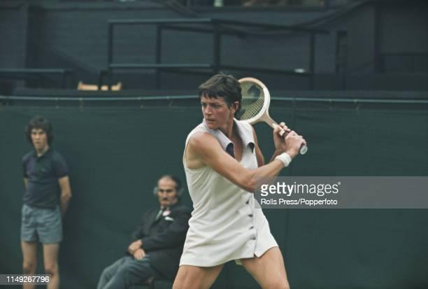 Australian tennis player Margaret Court pictured in action against fellow Australian tennis player Karen Krantzcke in the second round of the Women's...