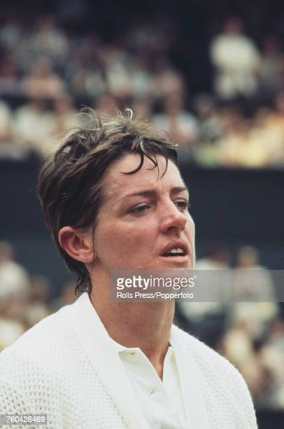 Australian tennis player Margaret Court pictured in action against fellow Australian Evonne Goolagong in the final of the Women's Singles competition...